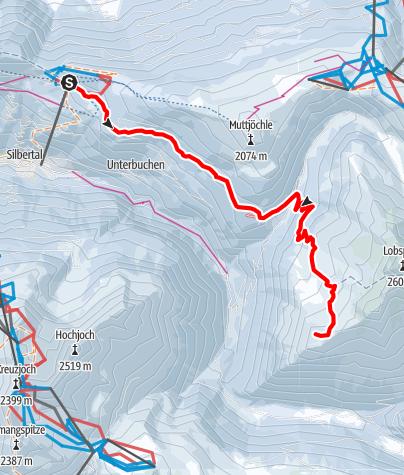 Karte / Skitour vom Kristberg auf den Gipfel Fellimännle (2.209m)