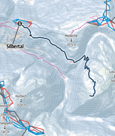 Map / Skitour vom Kristberg auf den Gipfel Fellimännle (2.209m)