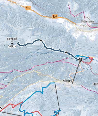 Karte / Skitour vom Kristberg auf den Alpilakopf (über Obere Wies)
