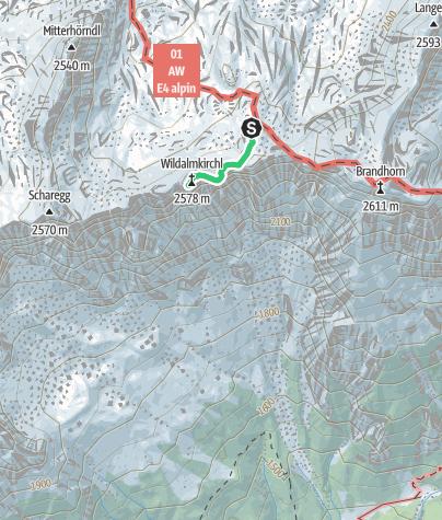 Karte / Wildalmkirchl 2578m Normalanstieg