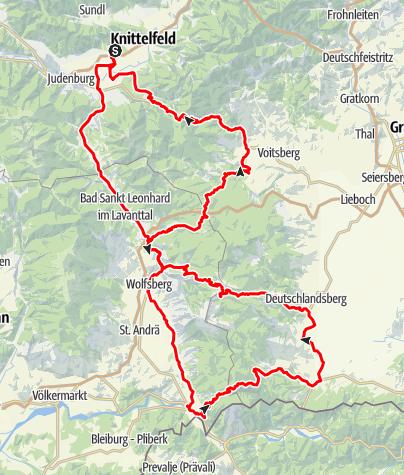 Karte / 4 Bergetour - Soboth - Weinebene - Pack - Gaberl