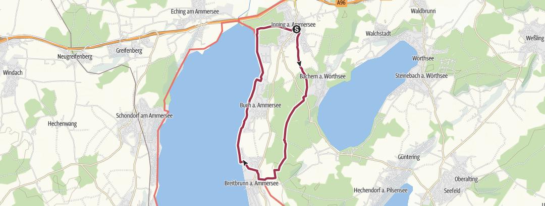 Mappa / Inning am Ammersee: aussichstreiche Runde mit Einkehrmöglichkeit