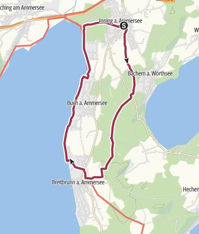 Mapa / Inning am Ammersee: aussichstreiche Runde mit Einkehrmöglichkeit