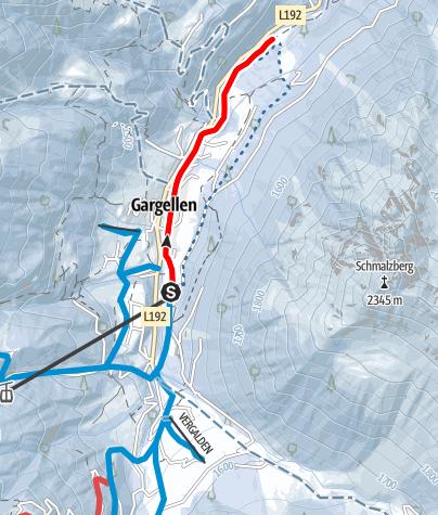 Karte / Entlang des Suggadinbaches bis nach Borstboden (Gargellen)