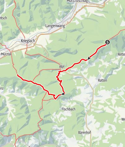 Karte / Etappe 10a: BergZeitReise Pretul - Alpl - Stanglalm