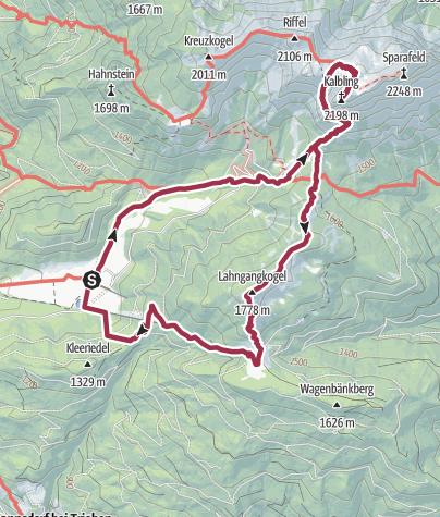 Karte / Klinkehütte - Admonter Kalbling - Wagenbänkalm - Runde