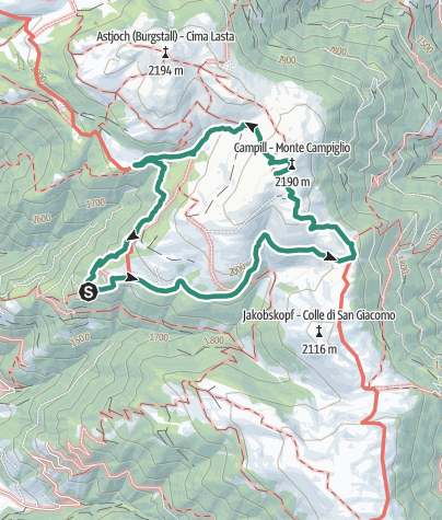 מפה / Zum Campill-Gipfel auf der Lüsner Alm