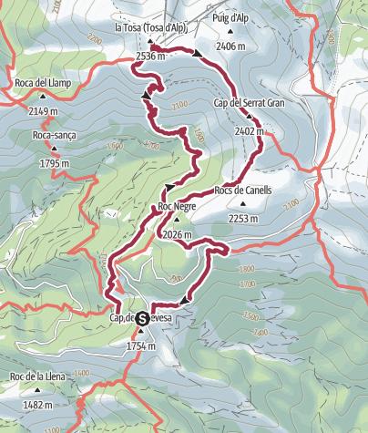 Map / Wikiloc - Tosa d'Alp per les Muntanyetes desde Refugi Rebost