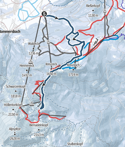 Map / Garmisch Classic piste tour with a bit of trees and powder