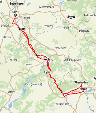 Karte / Route der Rheinromantik