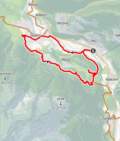 Map / Biketour Oetz - Seejöchl Piburg (6001)