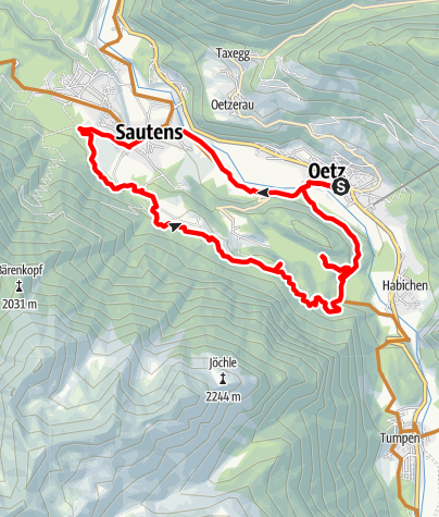 Karte / Biketour Oetz - Seejöchl Piburg (6001)