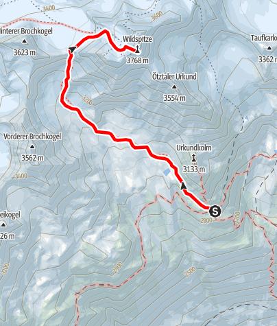 Karte / Breslauer Hütte - Wildspitze