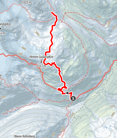 Map / Hochjoch Hospiz - Middle Guslarspitze - Vernagthut