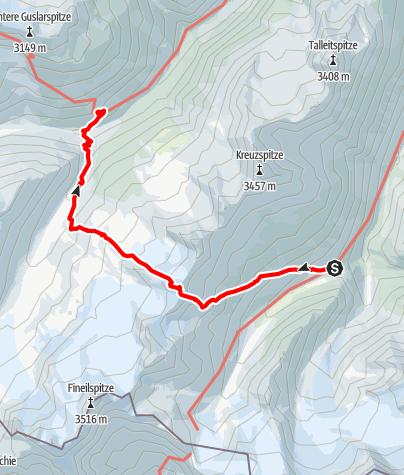 Karte / Martin Busch Hütte - Saykogel - Hochjoch Hospiz