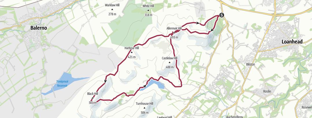 Карта / Pentlands loop from Hillend.