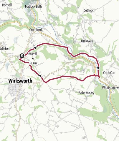 Map / D231: High Peak Trail - Cromford Canal - Wirksworth Moor - Steeple Grange