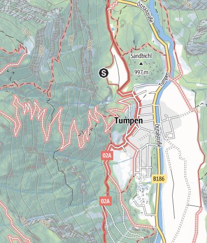 Karte / Klettergarten Armelen Tumpen