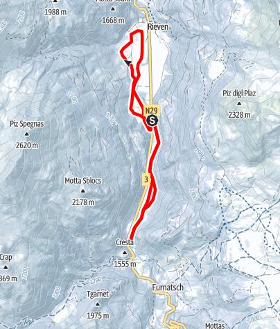 Karte / Rona - Hochebene - Mulegns - Rona