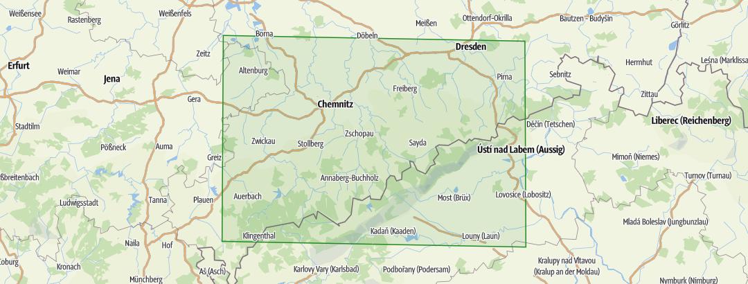 Karte Chemnitz Und Umgebung.Erzgebirge Und Umgebung