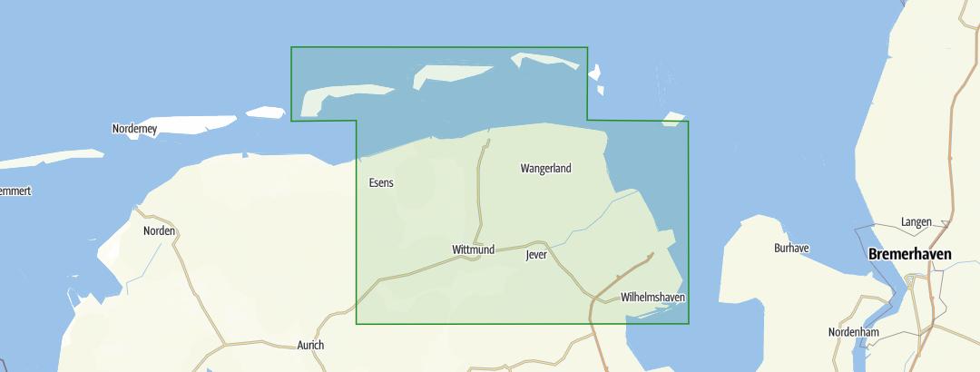 Ostfriesische Nordseeküste Karte.Ostfriesische Nordseeküste östlicher Teil