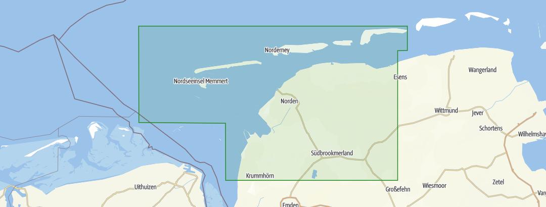 Ostfriesische Nordseeküste Karte.Ostfriesische Nordseeküste Westlicher Teil