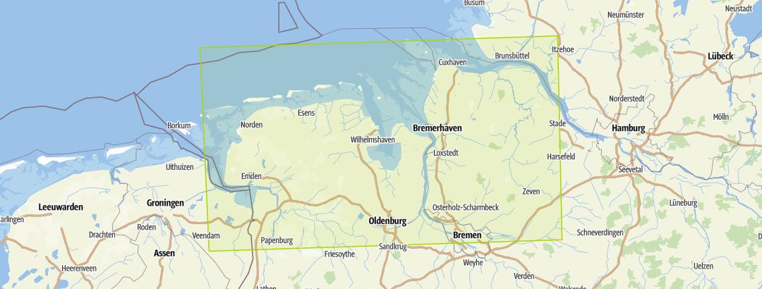 Karte Nordseeküste Niedersachsen.Nordseeküste Niedersachsen 3in1