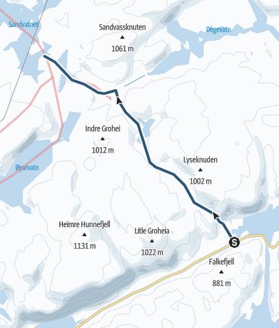 Map / Fra Valevatn (Lortabu) til Sandvatn