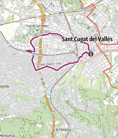 Mapa / Caminata por Sant Cugat - Parc Central, Can Mates, FGC Mirasol, Archiu...