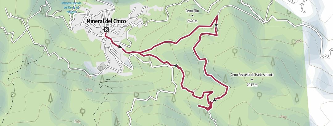 Kartta / Mineral de Chico a Mirador Peña del Cuervo