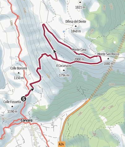 Map / Monte Cava da Corvaro stradina