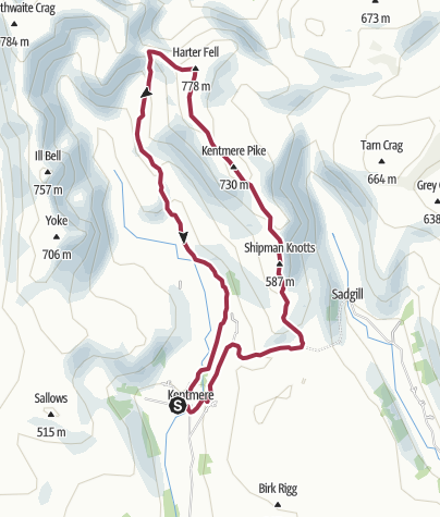 Map / Kentmere Pike and Harter Fell