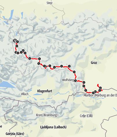 Karte / Vom Gletscher zum Wein - Die Südroute