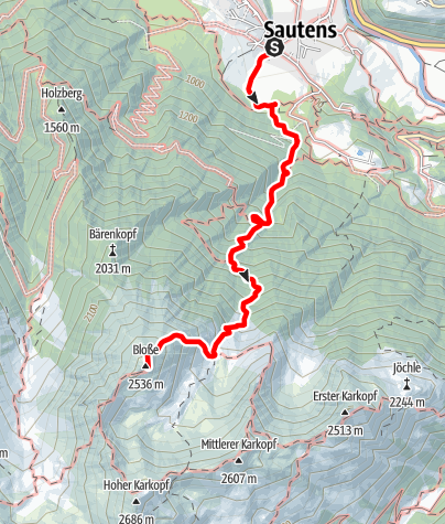 Map / Mountain peak Blosse - Sautens