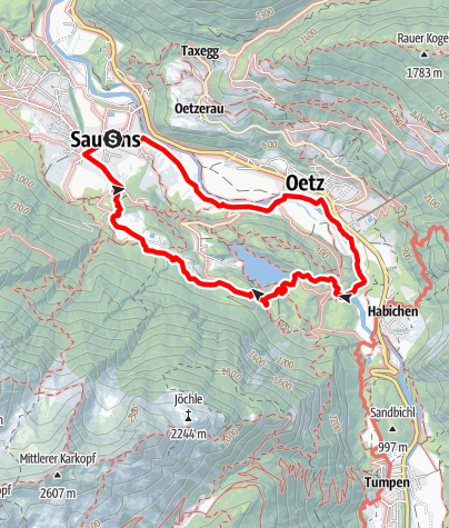 Map / Sautens - Oetz - Lake Piburger See - Sautens