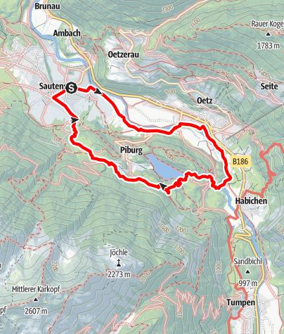 Karte / Sautens - Oetz - Piburger See - Sautens
