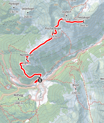 Map / Tour of 3 Peaks (Narrenkogel – Poschachkogel – Peistakogel) - Umhausen-Niederthai
