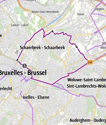 Map / Promenade verte vers Evere - 18.2 km