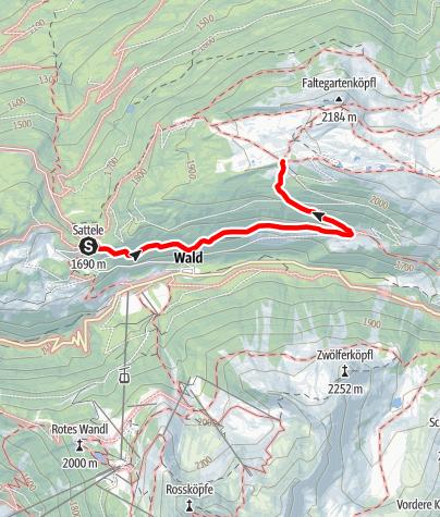 Karte / Gipfeltour Grünwaslekreuz