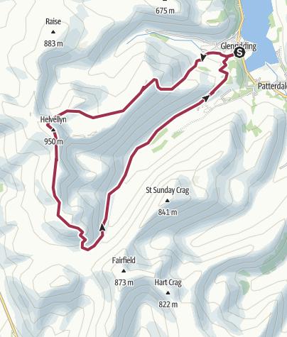 Map / Helvellyn via Swirral Edge and Dollywaggon Pike