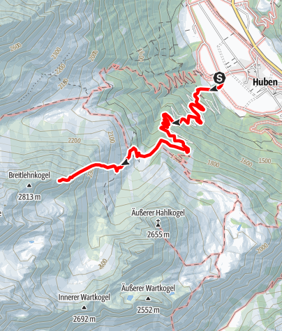 Karte / Niederer Breitlehnkogel  2813m - Längenfeld