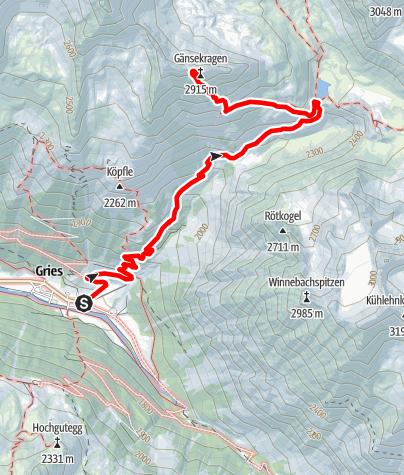 Karte / Gänsekragen 2914m - Längenfeld/Gries