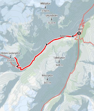 Karte / Guslarspitze - vom Hochjoch Hospiz