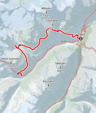 Karte / Drei Hütten Wanderung - Breslauer Hütte, Vernagthütte, Hochjoch Hospiz