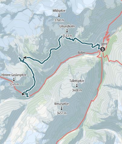 Map / Three huts hike - Breslauer Hütte, Vernagthütte, Hochjoch Hospiz