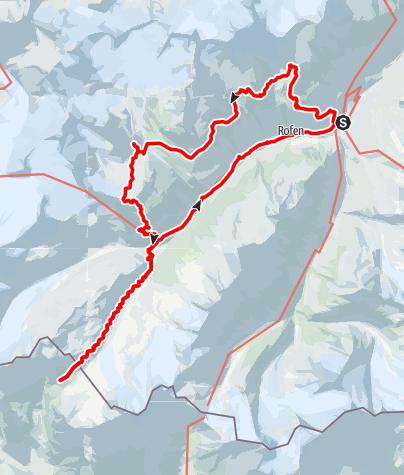 Karte / Vent-Wilder Mann-Breslauer Hütte-Vernagthütte- Guslarspitze-Hochjoch Hospiz-Schöne Aussicht-Vent