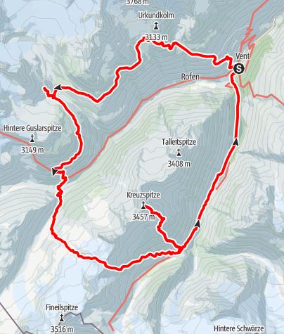 Map / Vent-Breslauer Hütte-Vernagthütte-Hochjoch Hospiz- Saykogel-Martin Busch Hütte-Kreuzspitze-Vent