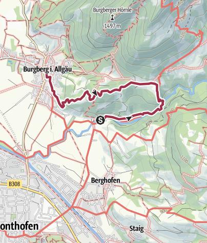 Carte / Durch die Starzlachklamm zum Gasthaus Löwen in Burgberg