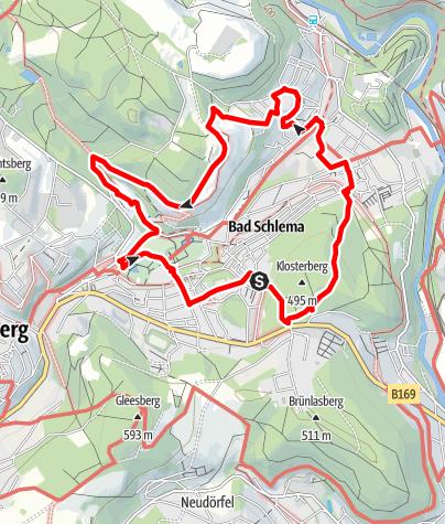 Karte / Rund um Bad Schlema – Bergbau- und Sanierungslehrpfad