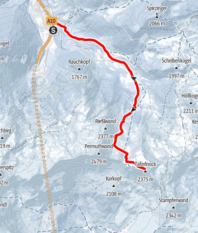 Karte / Taferlnock (2.375 m) von Norden über den Gamsboden